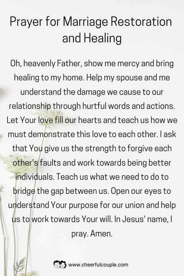 Image of Prayer for Marriage Restoration and Healing